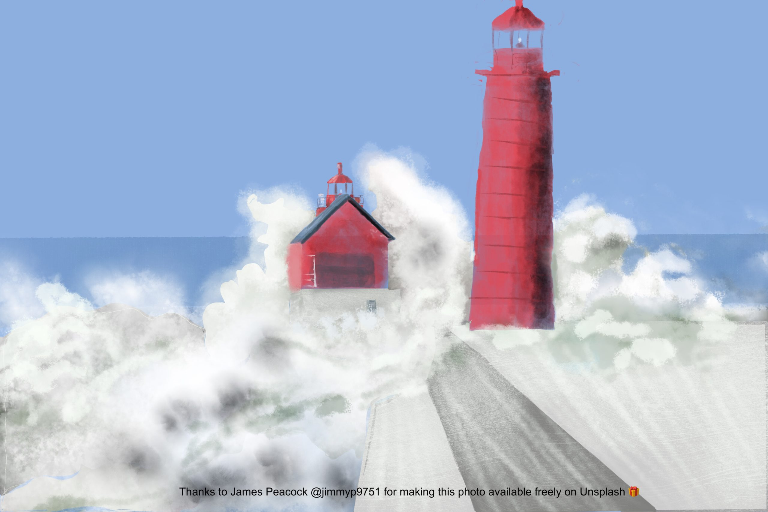 digital watercolor painting of a red lighthouse and service building, surrounded by crashing waves